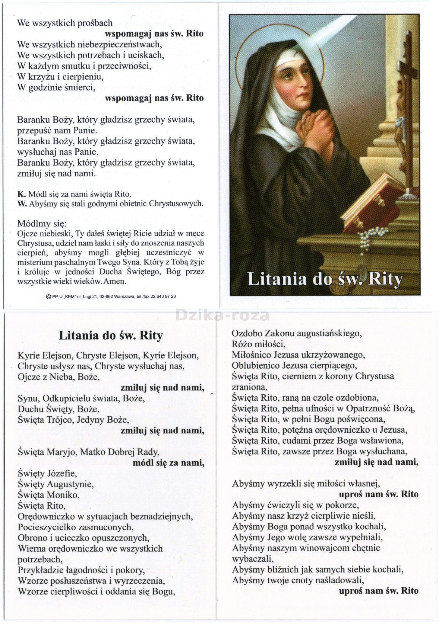 Litania Do świętej Rity